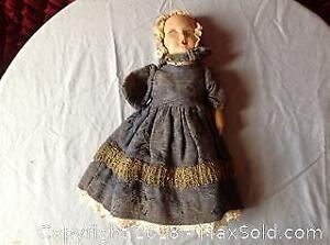 Vintage Paper Mache Doll With Original Cloths