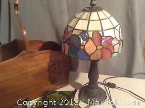 Stained Glass Lamp And Misc