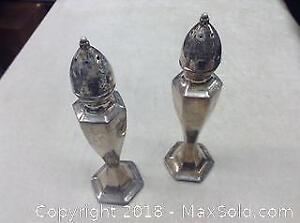 Pair Of Silver Plated Salt And Peppers