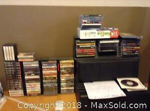 Cassette Tapes, Computer games and CD racks - A