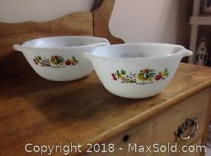 2 Fire King Milk Glass Mixing Bowls
