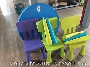 Children's Table And 3 Chairs-A