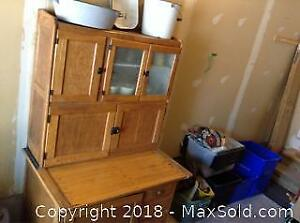 Antique Hoosier Baking Cabinet And Contents C