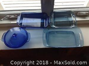 Blue Pyrex And Anchor Hocking Bake Ware B