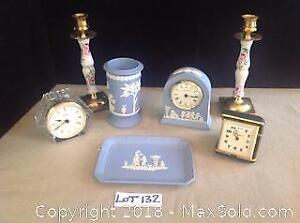 Wedgewood Set, Clocks And Candlesticks