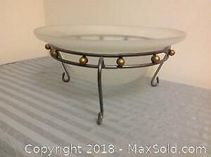 Frosted Glass Bowl With Stand