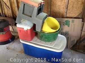 Storage, Cooler and Bucket. B