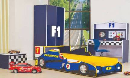 Blue Single Racing Car Bed - kids bed