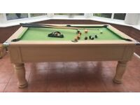 Slate bed pool table, cues, balls, cue rack and picture