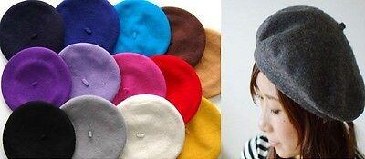 Vintage-Unisex-Men-Women-Wool-Warm-Beret-Beanie-Hat-Cap-French-Style-Colorful