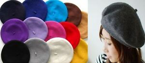 Vintage-Unisex-Men-Women-Wool-Warm-Beret-Beanie-Hat-Cap-French-Style-Colorful