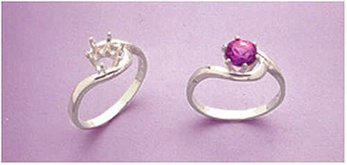 (4-14m) Sterling Silver Round Crescent Style Pre-Notched Ring Setting (Size 5-8)