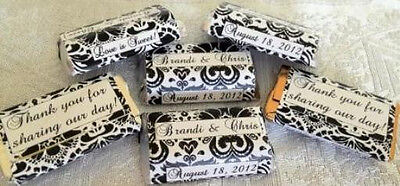 180 DAMASK WEDDING Candy wrappers/stickers/labels FAVORS for HERSHEY - Damask Wedding Candy