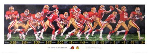 Photo RARE Joe Montana San Francisco 49ers DRIVE OF THE DECADE Super Bowl XXIII Poster