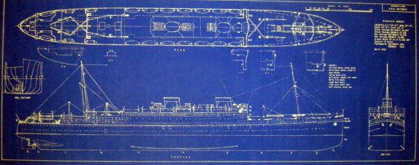Cunard White Star Liner RMS Britannic 1929 Blueprint Ships Plan 12x29 (151)