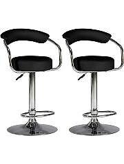Two black kitchen/bar stools