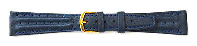 (20mm FLEURUS GENUINE CALF - DARK BLUE TWIN PADDED LEATHER DRIVING WATCH BAND)