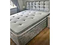 💦FREE FURNITURE💦Double & King Size Crushed Velvet Divan Bed Base W Optional Mattress💦