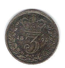 Coin 1875 Great Britain 3 Pence Kingston Kingston Area image 2