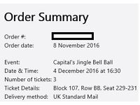 3 x Jingle Bell Ball Tickets Sunday 4th December 2016