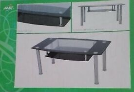 2 NEW in Box Aspen Glass & Chrome Coffee Tables FREE DELIVERY 085