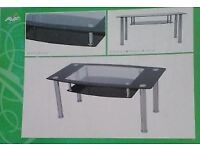 NEW in Box Aspen Glass & Chrome Coffee Table 110cm FREE DELIVERY 724
