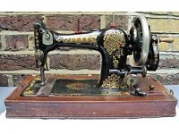 Manual Sewing Machine. Hand Crank. Vintage Sewing Machine. Jones