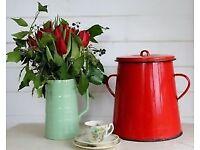 Red Vintage Bonyhád Enamel Kitchen / Compost Bin 20L
