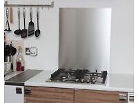 New Kitchen Cooker Splash Back. Stainless Steel. H 70cm x W 60cm