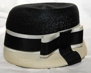 Vintage black and white lady's artificial straw hat with ribbons