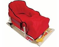 Baby sleigh with cushion and foot pouch