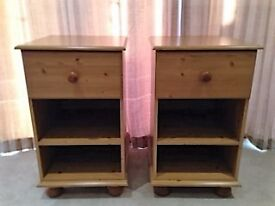 Matching pair pine effect bedside cabinets very good condition