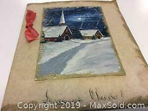 Antique Hand Painted Christmas Card