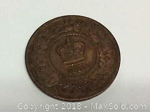 1864 Canada Nova Scotia Large One Cent Coin