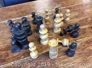 Old Wooden Chess Pieces Lot