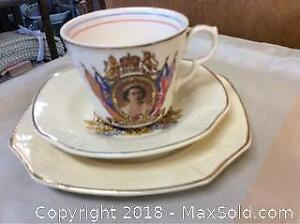 Cup, Saucer And Plate Celebrating Elizabeth's Coronation