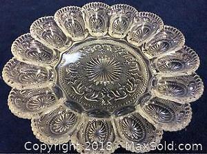 Depression Glass Devilled Egg Service Platter A