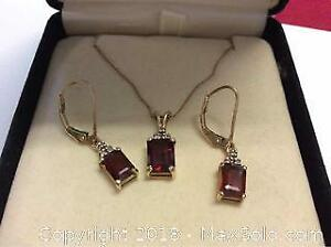 10k Solid Gold Garnet and Diamond Necklace Pendant and Earring Set