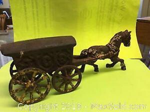 Antique Cast Iron Horse Ice Wagon