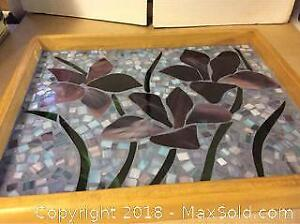 Hand Made Studio Stained Glass Wood Garden Tray