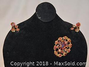 Costume jewellery, stamped AUSTRIA, vintage BROOCH / PIN and CLIP EARRINGS SET.