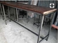 Reclaimed High Level Wood Table with scaffold wood and steel