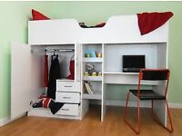 High Sleeper Bed White Excellent Condition - Brand New