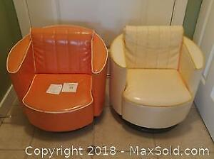 Pair retro child's swivel chairs