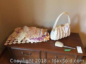 Doilies Purse And Brush-A