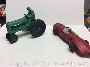 Antique Rubber Toy Race Car and Tractor