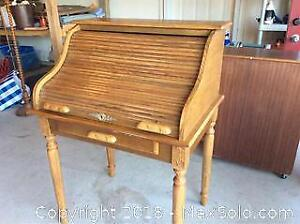 Roll Top Oak Desk A
