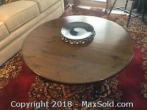 Large Round Wood Coffee Table.