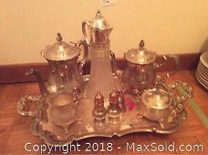 Silver Plated Coffee And Tea Service With Tray A