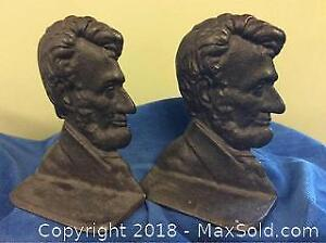 Abraham Lincoln Cast Iron Patriotic Bookends